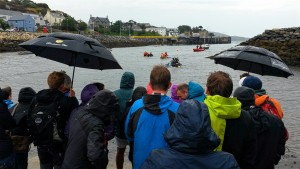 Crowds gathered for the raft race